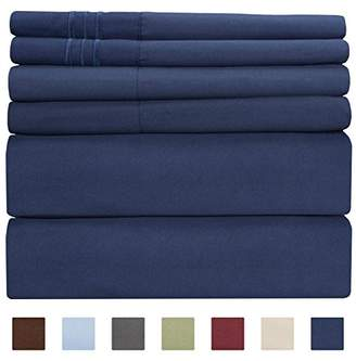 +Hotel by K-bros&Co King Size Sheet Set - 6 Piece Set - Hotel Luxury Bed Sheets - Extra Soft - Deep Pockets - Easy Fit - Cooling Sheets - Wrinkle Free - Royal Blue - Navy Blue Bed Sheets - Kings Sheets - 6 PC