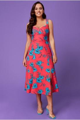 Goddiva Vicky Pattison Hot Pink Floral Strap Tea Dress with Slits