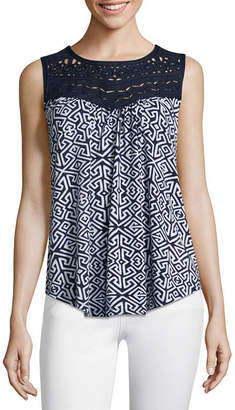 John Paul Richard JOHNPAULRICHARD Womens Round Neck Sleeveless Blouse