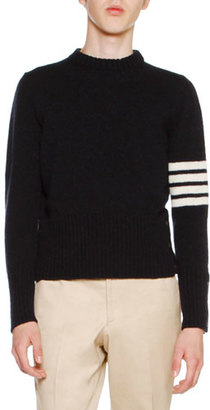 Thom Browne Wool Tweed Crewneck Sweater with 4-Bar Stripes, Navy $890 thestylecure.com