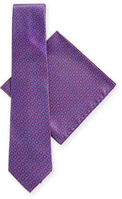 Stefano Ricci Round-Medallion Silk Tie & Pocket Square Set