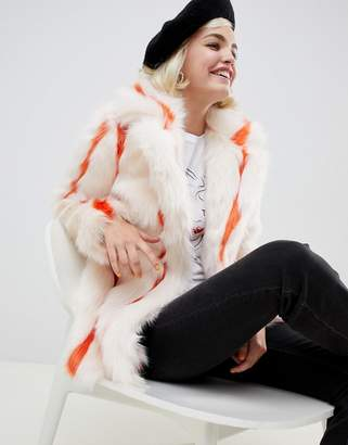 Glamorous coat in stripe faux fur