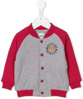 Moschino Kids Teddy logo print bomber jacket