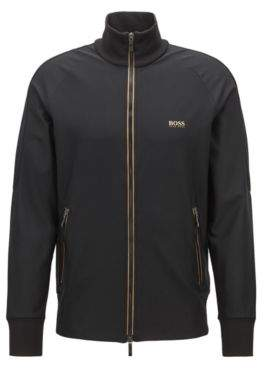 BOSS Hugo Zippered sweatshirt in active-stretch S.Cafe& L Black