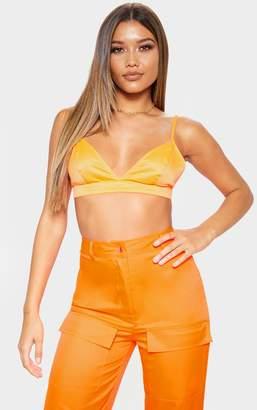 18c097c964429 PrettyLittleThing Neon Orange Satin Bralet