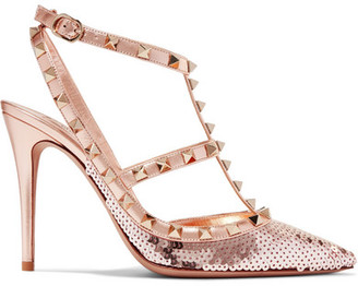 Valentino Garavani The Rockstud Sequined Metallic Leather Pumps - Blush