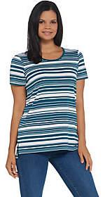 Martha Stewart Varigate Stripe Short SleevePonte Tunic
