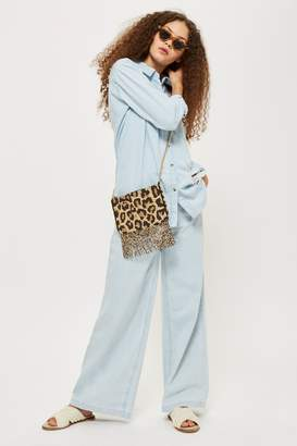 Topshop Bonnie Beaded Leopard Print Cross Body Bag