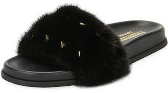 Valentino Rockstud Flat Fur Slide Sandals