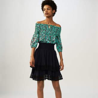 Maje Flounced skirt with lace