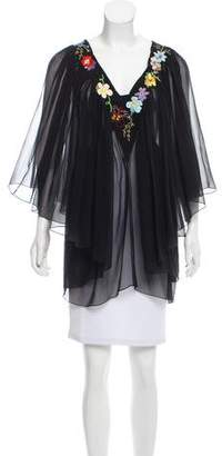 Clements Ribeiro Embroidered Sheer Blouse
