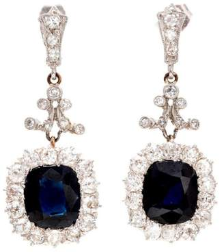 Platinum & 14K Gold 5.90ct Royal Blue Sapphire & Diamond Earrings
