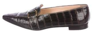 Manolo Blahnik Crocodile Pointed-Toe Loafers