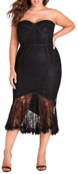 City Chic So Seductive Ruffle Hem Lace Body-Con Dress