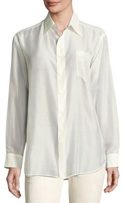 Ralph Lauren Collection Damien Voile Long-Sleeve Blouse, Cream $850 thestylecure.com