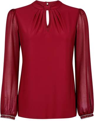 Dorothy Perkins Womens **Billie & Blossom Petite Wine Knot Front Top