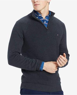 Tommy Hilfiger Men's Waffle Knit Quarter-Zip Sweater