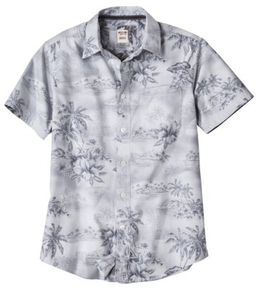 Mossimo Men's Short Sleeve Tropical Button Down - Cement Gray Palm Tree Print