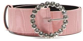 ATTICO The Crystal Embellished Buckle Moire Belt - Womens - Pink