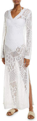 Letarte Cascade Lace Long-Sleeve Coverup Dress