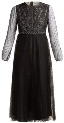 RED Valentino Point Desprit Midi Dress - Womens - Black