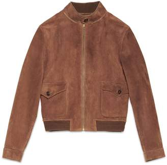 Gucci Men's Suede Leather Bomber Jacket
