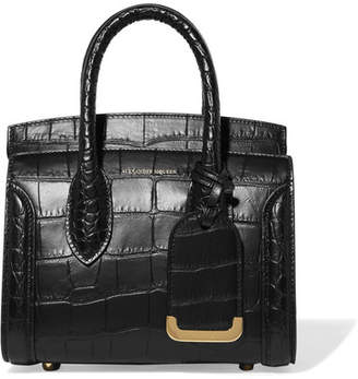 fe76705dda589 Alexander McQueen Heroine Small Croc-effect Leather Tote - Black