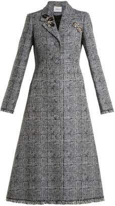 Erdem Dominique crystal-embellished checked coat