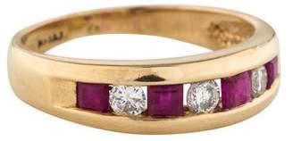 Ring 14K Diamond & Ruby Band