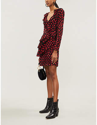The Kooples Heart Print Ruffled Chiffon Dress