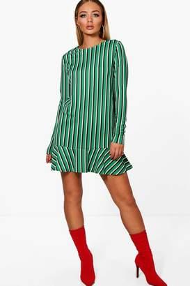 boohoo Eville Bold Stripe Drop Hem Long Sleeve Shift Dress