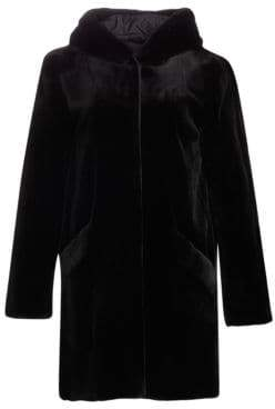 Norman Ambrose Hooded Sheared Mink Coat