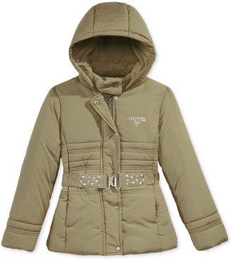 GUESS Hooded Puffer Jacket, Little Girls (2-6X) $115 thestylecure.com