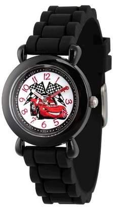 Cars Boys' Disney Lightning McQueen Black Plastic Time Teacher Watch, Black Silicone Strap, WDS000150