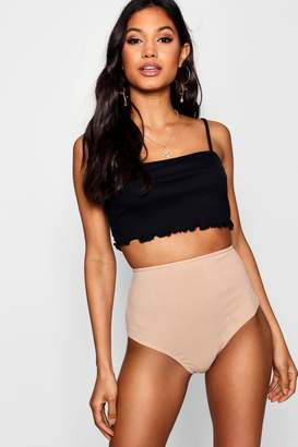 boohoo Ribbed High Waist Hotpant