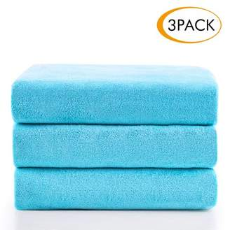 """Unbranded Microfiber Bath Towel Set 3 Piece (27"""" x 55""""),Super Absortbent and Fast Drying, Antibacterial, Perfect For Sports, Travel, Fitness, Yoga - Solid Sky Blue"""