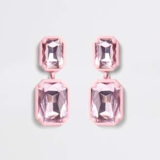 River Island Pink coated rectangle crystal drop earrings