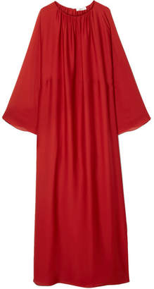 The Row Nancy Gathered Washed Silk-charmeuse Gown