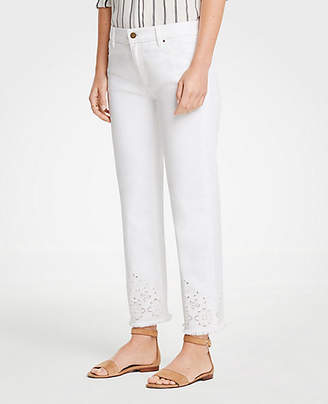 Ann Taylor Petite Eyelet Straight Crop Jeans