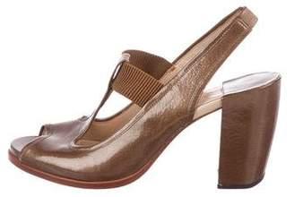 Modern Vintage Patent Leather Slingback Sandals