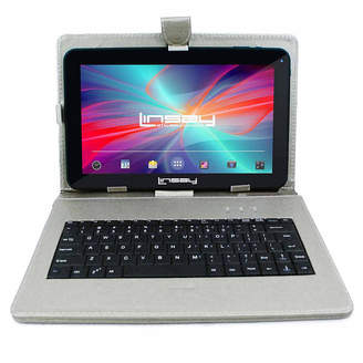 LINSAY New 10.1'' Quad Core 1024x600HD 16GB Android 6.0 Tablet with Silver Leather Keyboard Case