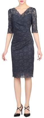 Jolie Moi - Dark Grey Scalloped Lace Dress