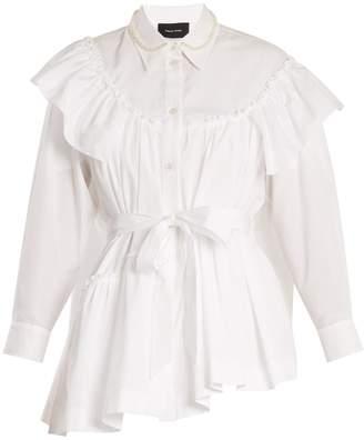 Simone Rocha Embellished-collar tie-waist cotton shirt