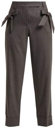 Simone Rocha Bow Embellished Wool Trousers - Womens - Dark Grey