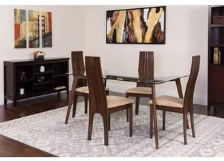 Flash Furniture Baldwin 5 Piece Espresso Wood Dining Table Set with Glass Top and Padded Wood Dining Chairs