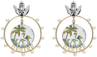 Anton Heunis gold metallic, white and green desire swarovski crystal earrings