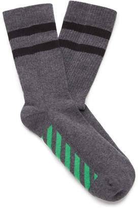 Off-White Striped Cotton-Blend Sport Socks