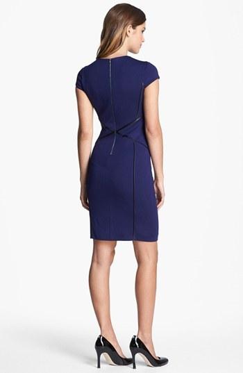 Cynthia Steffe Cap Sleeve Faux Leather Trim Ponte Sheath Dress