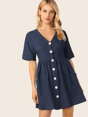 93163dff36b Shein Pocket Front Button Up Tea Dress