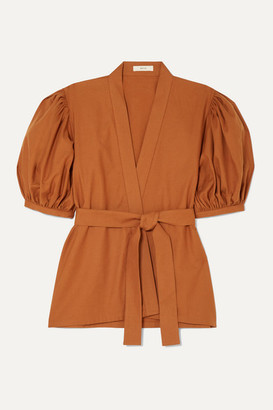 MATIN - Belted Cotton Wrap Top - Brown